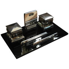 1930s Art Deco Black Lacquer and Chrome Desk Set with 2 Inkwells and Calendar