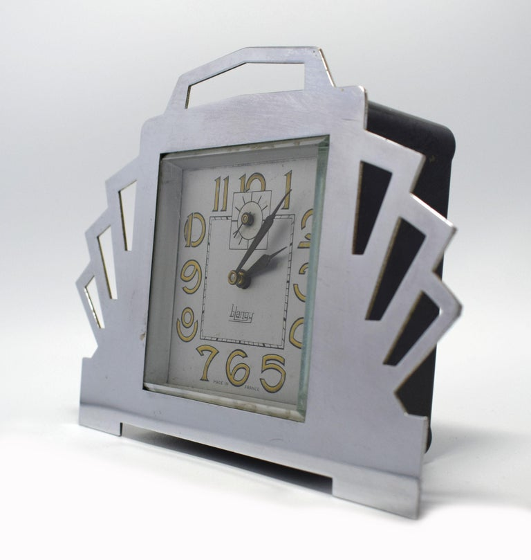 French 1930s Art Deco Blangy Chrome Desk Clock For Sale