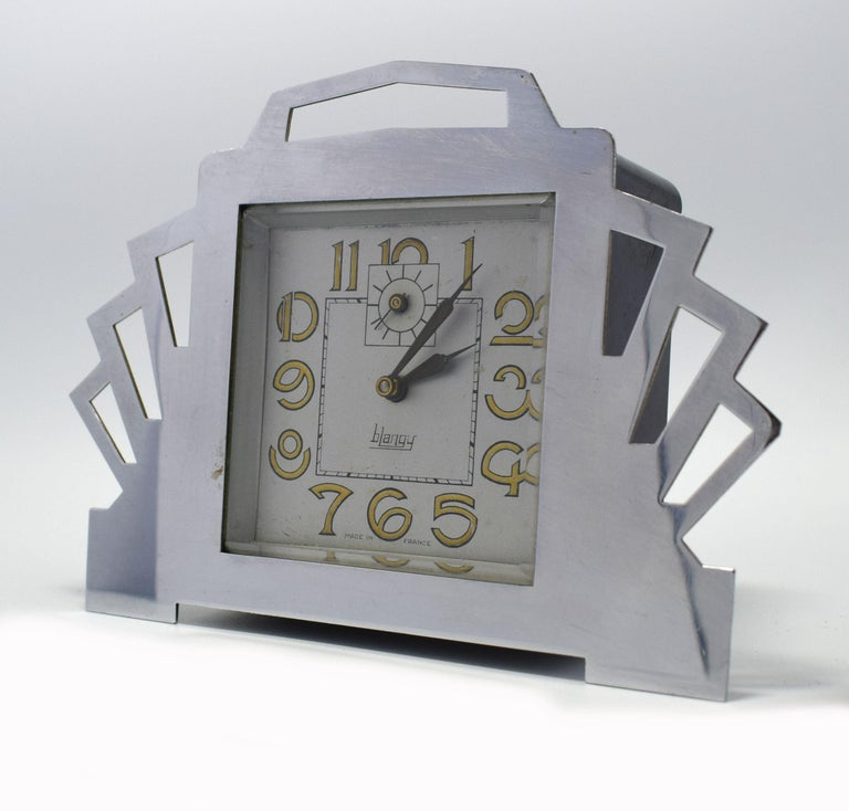 1930s Art Deco Blangy Chrome Desk Clock In Good Condition For Sale In Devon, England