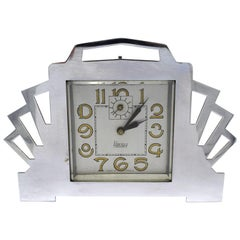1930s Art Deco Blangy Chrome Desk Clock