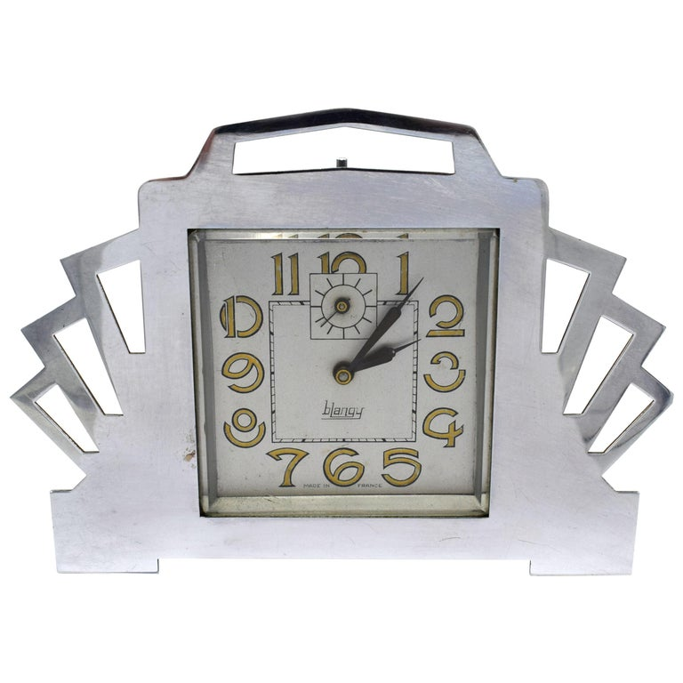 1930s Art Deco Blangy Chrome Desk Clock For Sale