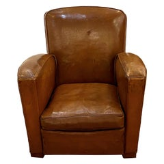 1930s Art Deco Brown Leather French Refurbished Club Chair
