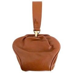 1930s Art Deco Brown Leather Handbag with Wrist Strap