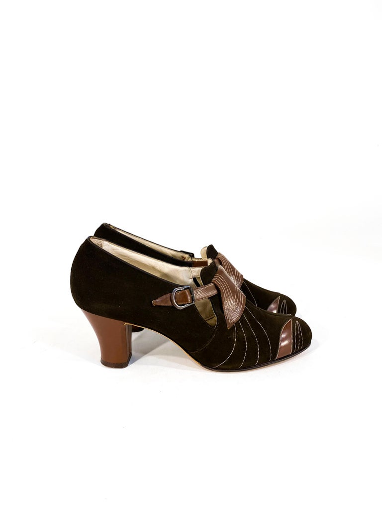 Black 1930s Art Deco Brown Suede and Leather Heels