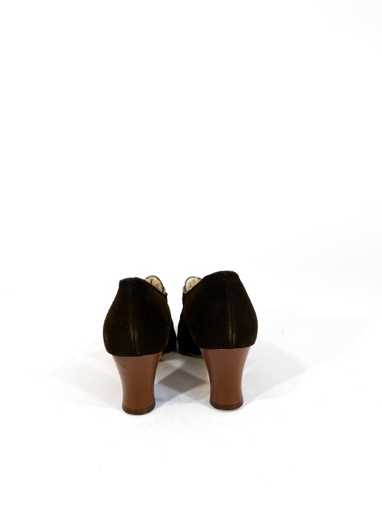 1930s Art Deco Brown Suede and Leather Heels In Good Condition In San Francisco, CA