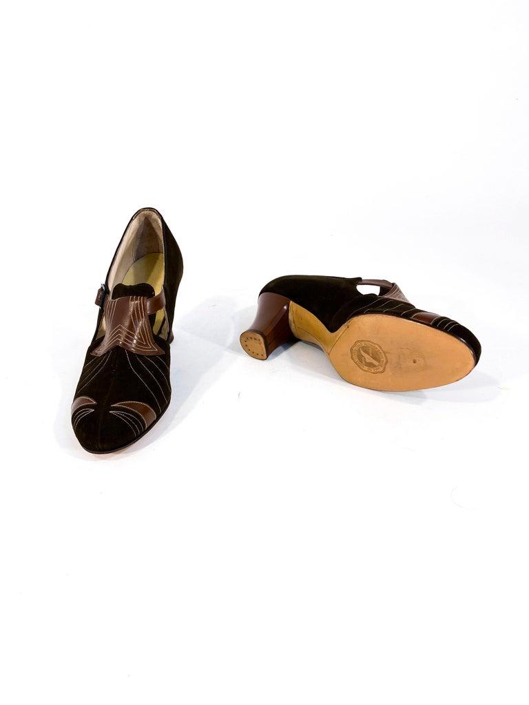 Women's or Men's 1930s Art Deco Brown Suede and Leather Heels