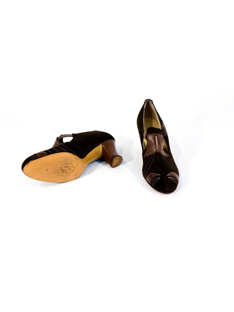 1930s Art Deco Brown Suede and Leather Heels 1
