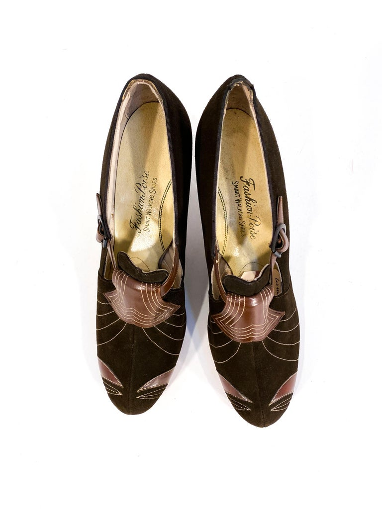 1930s Art Deco Brown Suede and Leather Heels 2