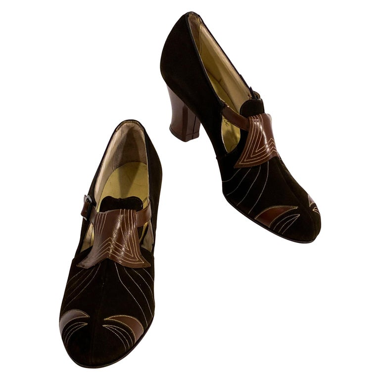 1930s Art Deco Brown Suede and Leather Heels
