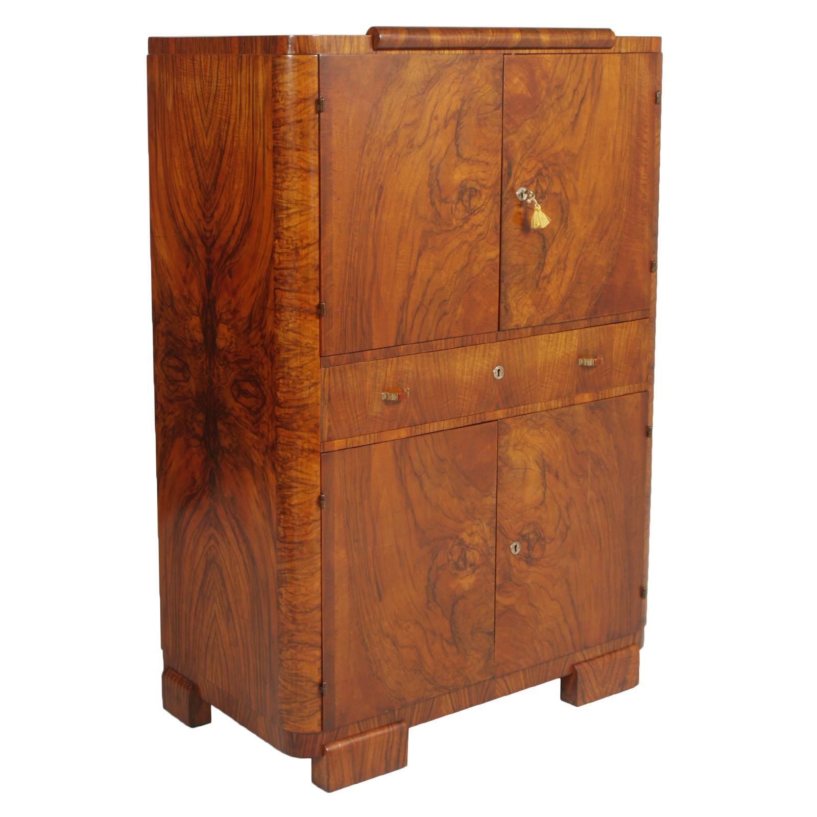 1930s Art Deco Burl Walnut Borsani Sideboard Buffet Server Credenza Wax Polished