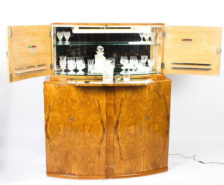 1930s Art Deco Burr Walnut Half Moon Cocktail Bar 1