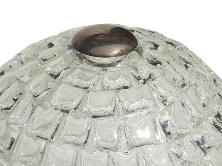1930s Art Deco by Ercole Barovier Murano Glass Flush Mount In Excellent Condition For Sale In Brescia, IT