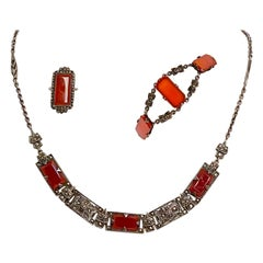 1930s Art Deco Carnelian and Sterling Silver Jewelry Set