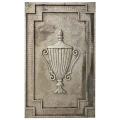 1930s Art Deco Cast Aluminum Urn Plaque Wall Panel from a NYC Building Facade