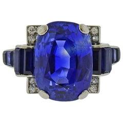 1930s Art Deco Certified 11.80 Carat No Heat Sapphire Platinum Diamond Ring
