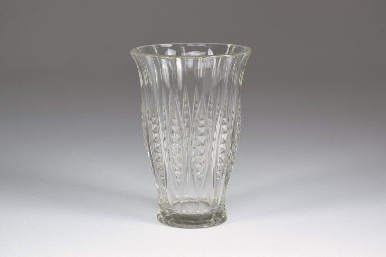Belgian 1930s Art Deco Charles Graffart Cut Crystal Vase For Sale