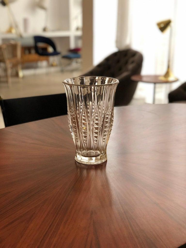 1930s Art Deco Charles Graffart Cut Crystal Vase For Sale 1