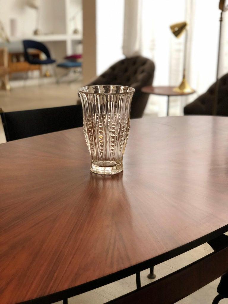 1930s Art Deco Charles Graffart Cut Crystal Vase For Sale 3