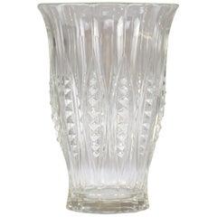 1930s Art Deco Charles Graffart Cut Crystal Vase