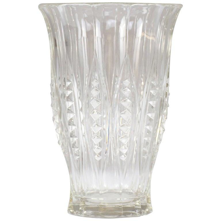 1930s Art Deco Charles Graffart Cut Crystal Vase For Sale