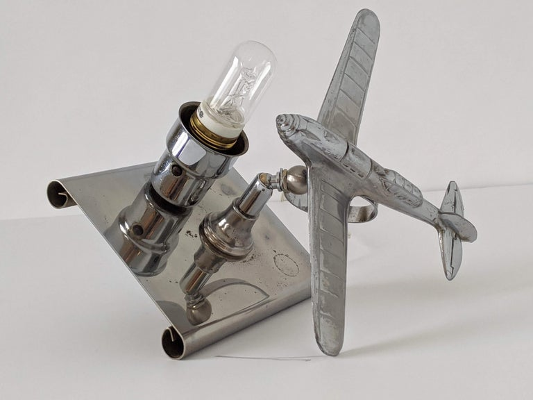 1930s Art Deco Chrome Airplane Table Lamp by Ray A. Schober, USA For Sale 7