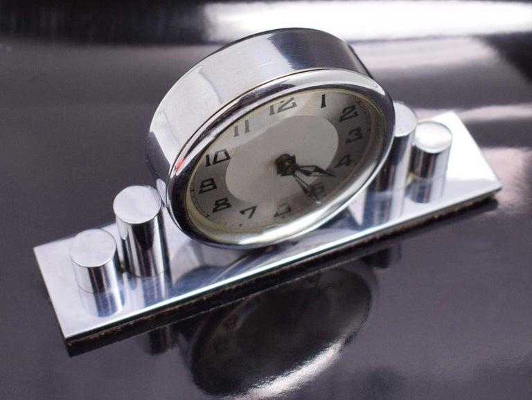 French 1930s Art Deco Chrome Miniature Clock For Sale