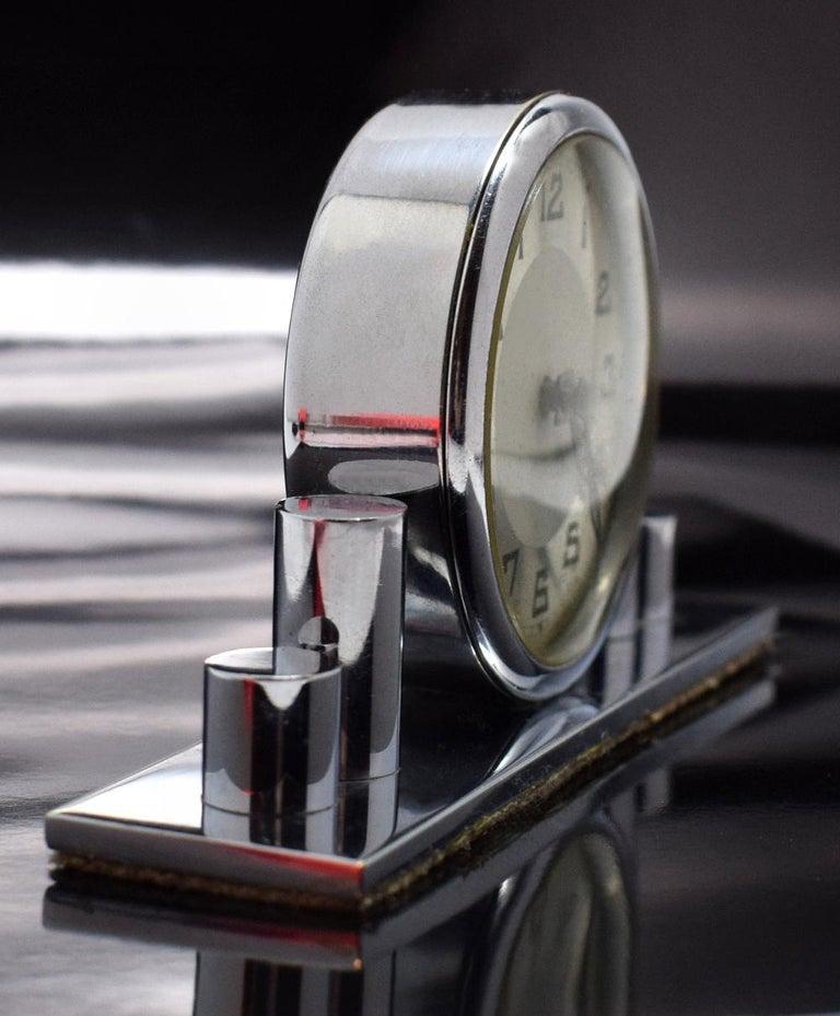 20th Century 1930s Art Deco Chrome Miniature Clock For Sale