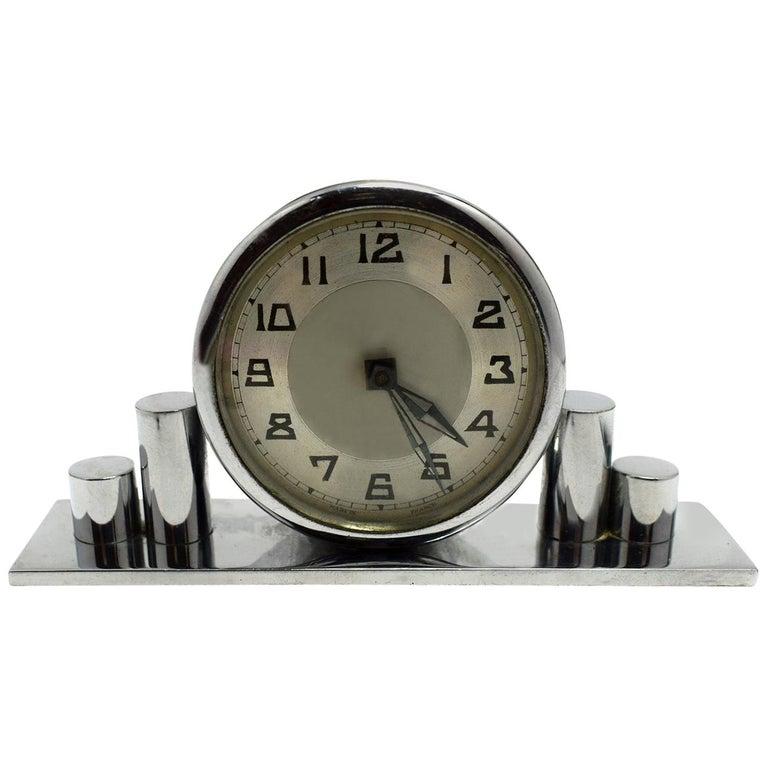 1930s Art Deco Chrome Miniature Clock For Sale