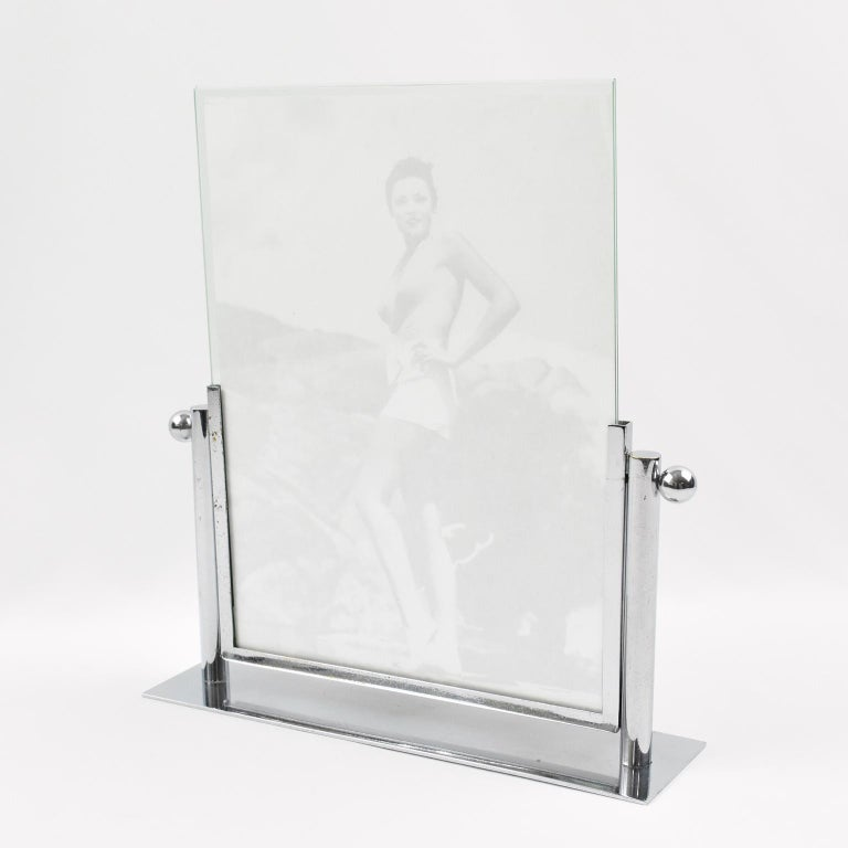 French 1930s Art Deco Chrome Picture Frame For Sale