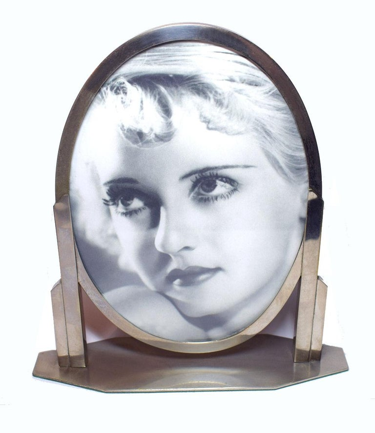 Felt 1930s Art Deco Chrome Picture Frame For Sale