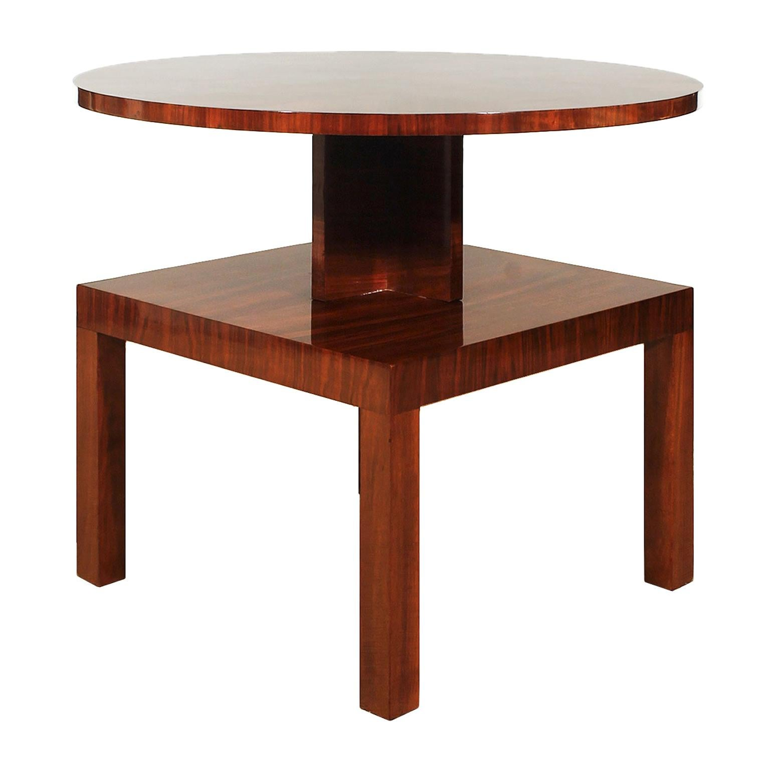 1930s Art Deco Cubist Side Table, Walnut, Marquetry, France