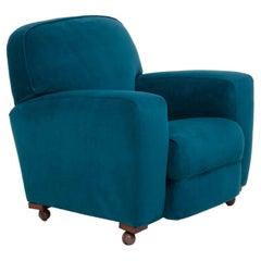 1930s Art Deco Curved Blue Teal Velvet Armchair