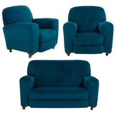 1930s Art Deco Curved Blue Teal Velvet Sofa and Armchairs, Set of 3