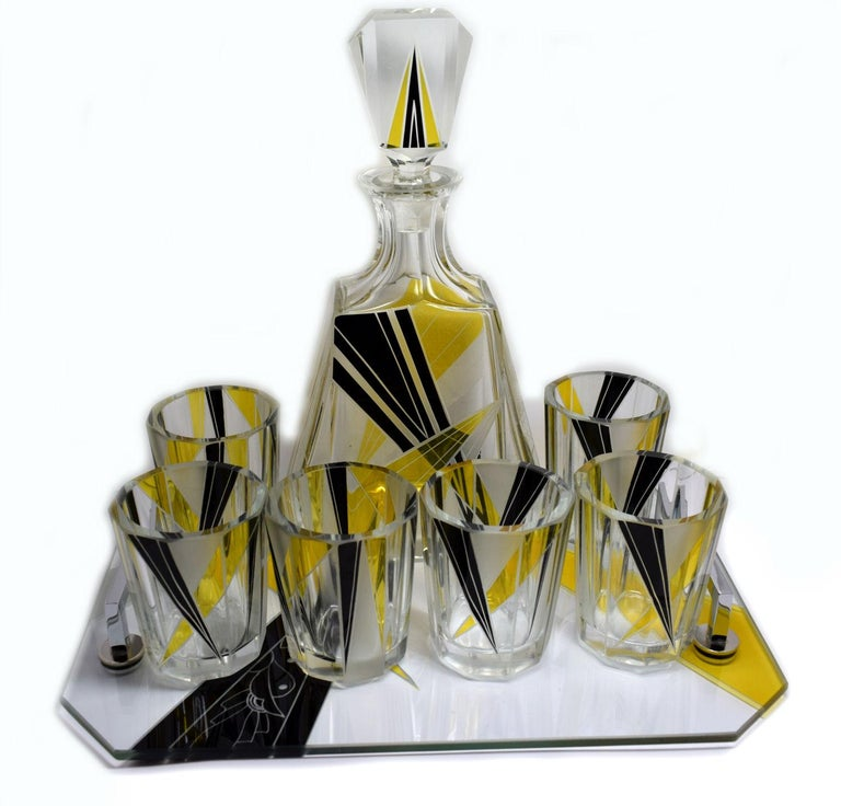 1930s Art Deco Czech Whisky Decanter Set on Matching Tray In Excellent Condition For Sale In Devon, England