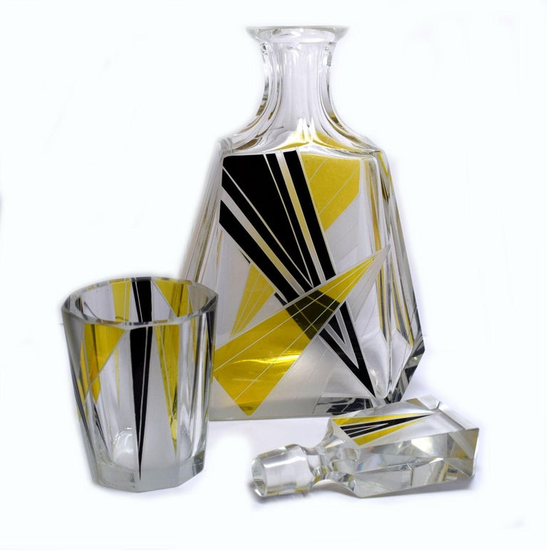 20th Century 1930s Art Deco Czech Whisky Decanter Set on Matching Tray For Sale