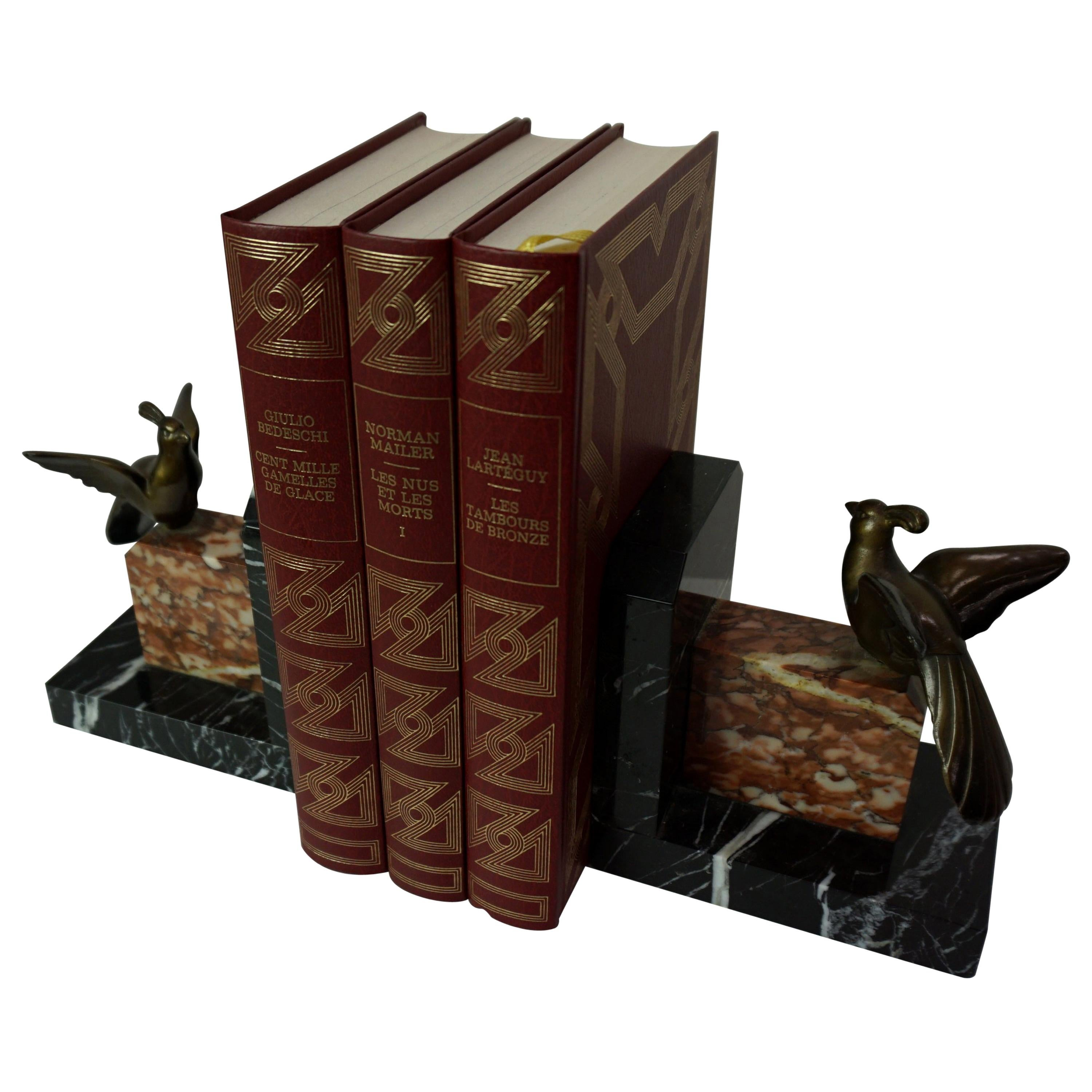 1930s Art Deco Design Marble And Brass Woodcock Bookends