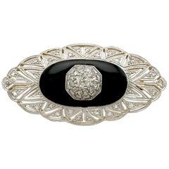 1930s Art Deco Diamond Black Onyx Gold Brooch