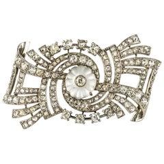 1930s Art Deco Diamond Rock Crystal Platinum 18 Karat White Gold Brooch