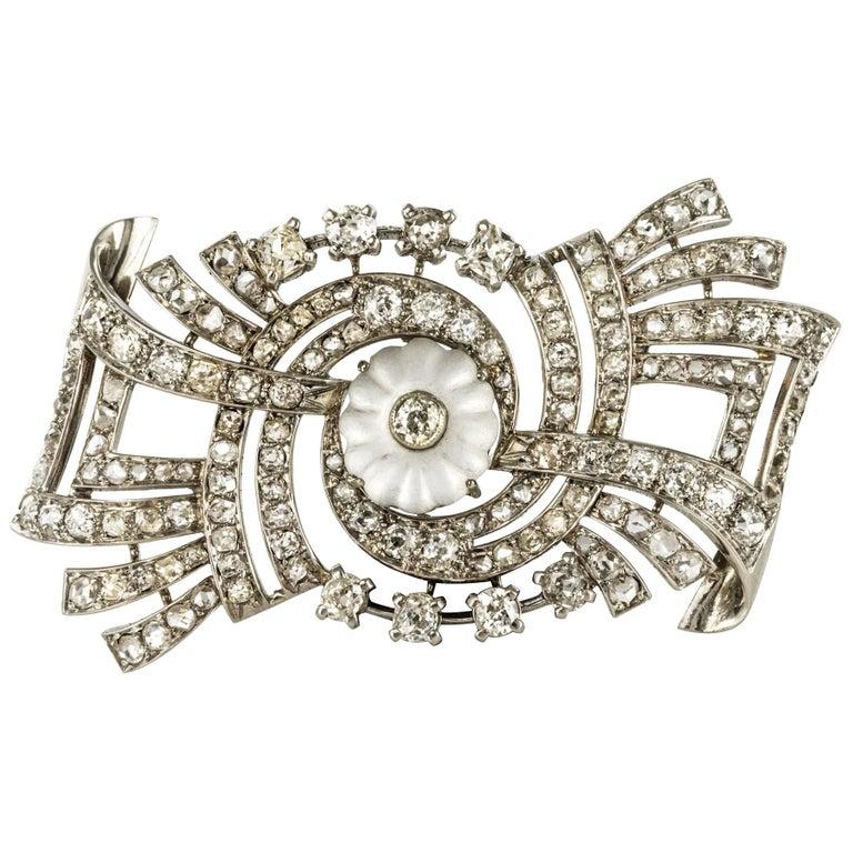 1930s Art Deco Diamond Rock Crystal Platinum 18 Karat White Gold Brooch For Sale