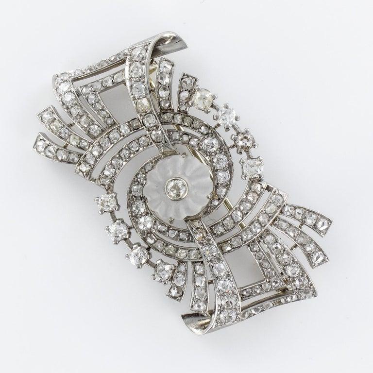 1930s Art Deco Diamond Rock Crystal Platinum 18 Karat White Gold Brooch For Sale 6