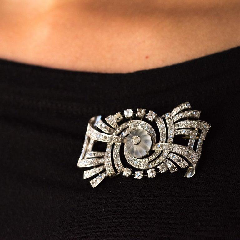 1930s Art Deco Diamond Rock Crystal Platinum 18 Karat White Gold Brooch For Sale 7
