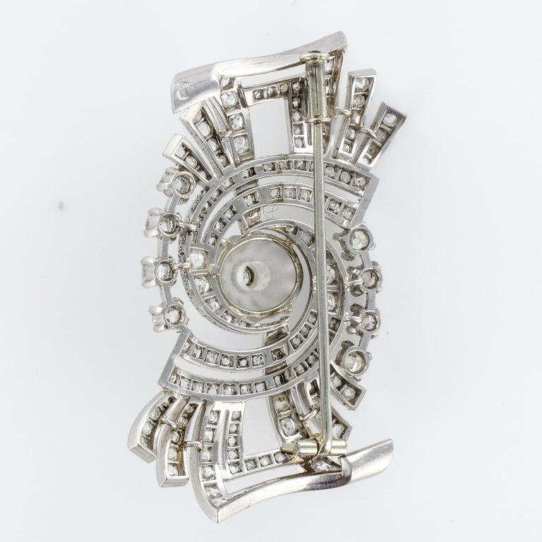 1930s Art Deco Diamond Rock Crystal Platinum 18 Karat White Gold Brooch For Sale 10