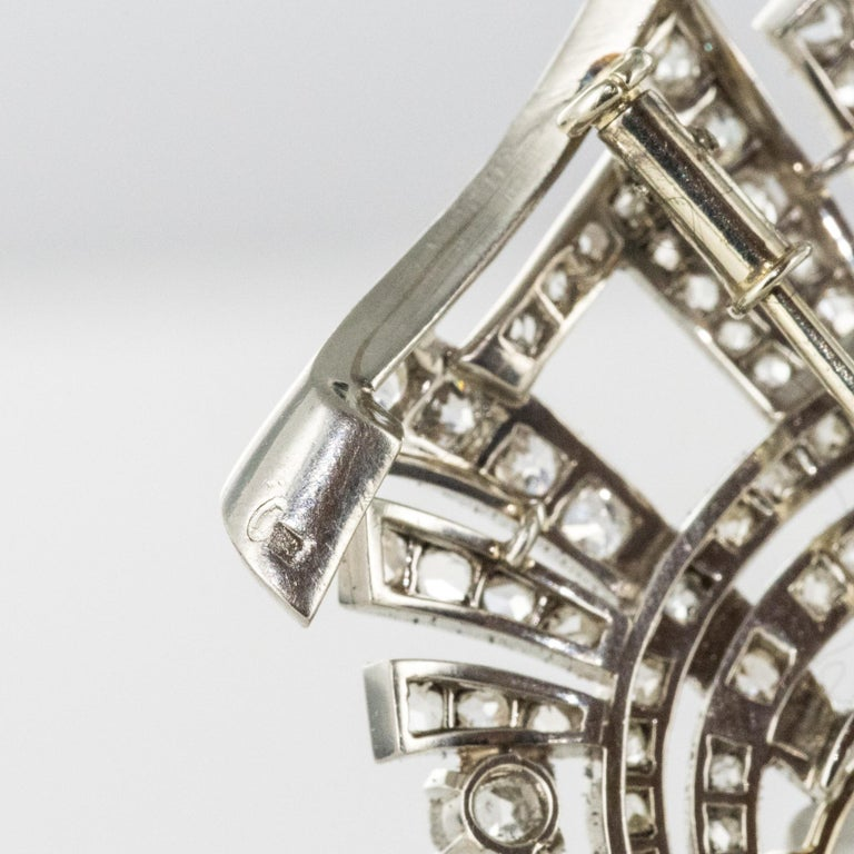 1930s Art Deco Diamond Rock Crystal Platinum 18 Karat White Gold Brooch For Sale 11