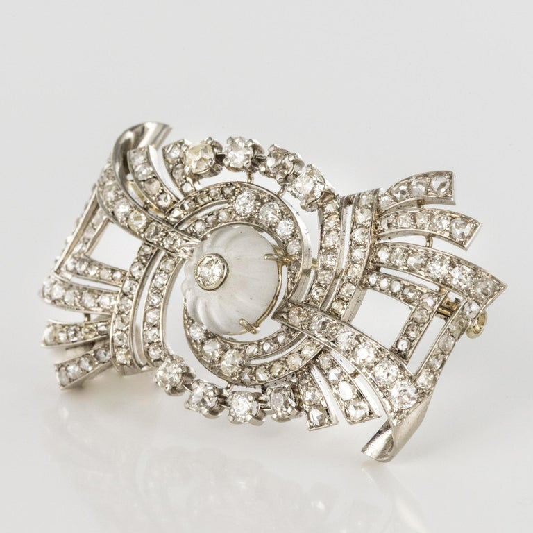 Women's 1930s Art Deco Diamond Rock Crystal Platinum 18 Karat White Gold Brooch For Sale