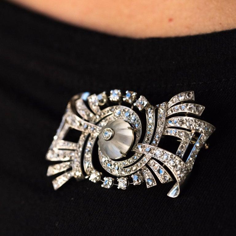 1930s Art Deco Diamond Rock Crystal Platinum 18 Karat White Gold Brooch For Sale 1