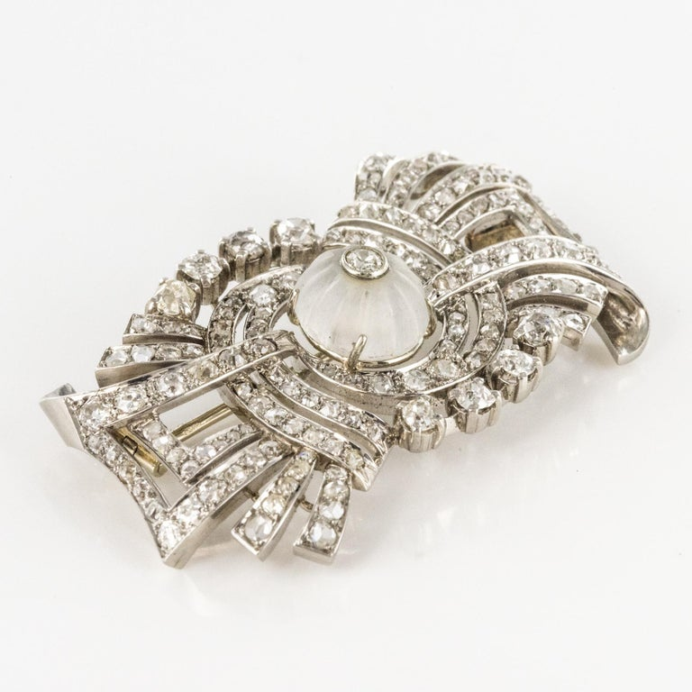 1930s Art Deco Diamond Rock Crystal Platinum 18 Karat White Gold Brooch For Sale 2