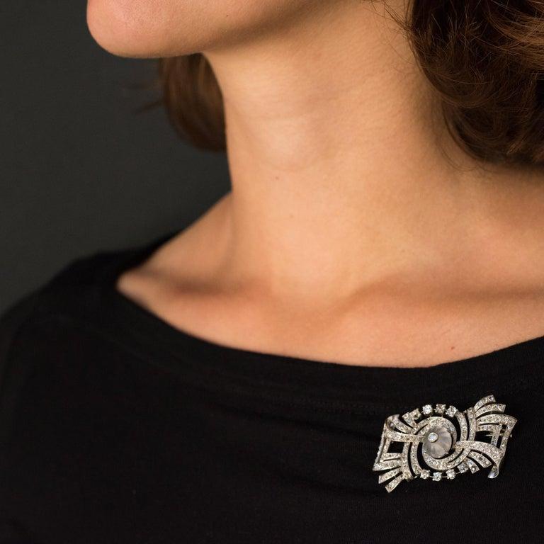 1930s Art Deco Diamond Rock Crystal Platinum 18 Karat White Gold Brooch For Sale 4
