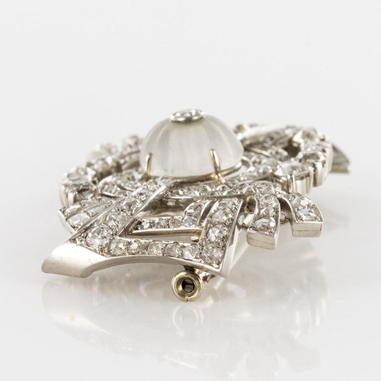 1930s Art Deco Diamond Rock Crystal Platinum 18 Karat White Gold Brooch For Sale 5