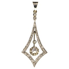 1930s Art Deco Diamonds 18 Karat White Gold Pendant
