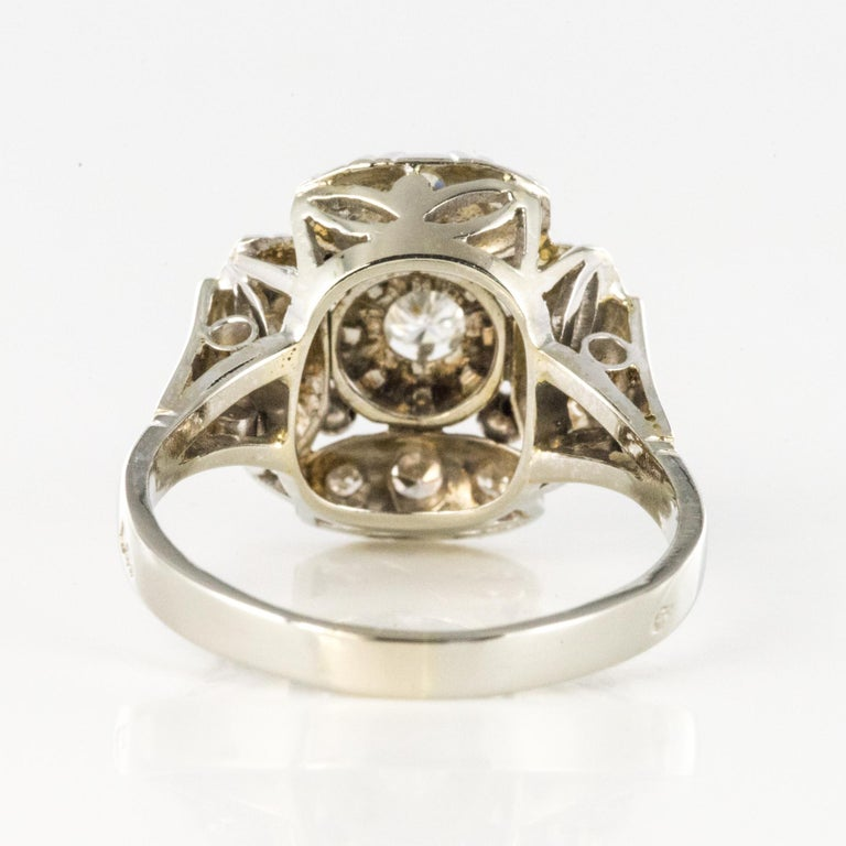 1930s Art Deco Diamonds 18 Karat White Gold Platinum Ring For Sale 7